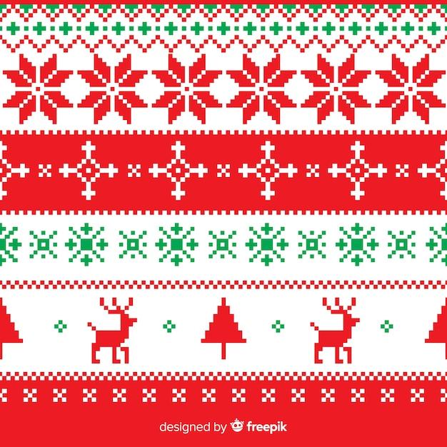 Collection De Modèles De Noël Tricotés Colorés Vecteur Premium