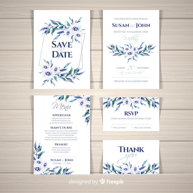 Collection de modèles de papeterie de mariage aquarelle Vecteur gratuit