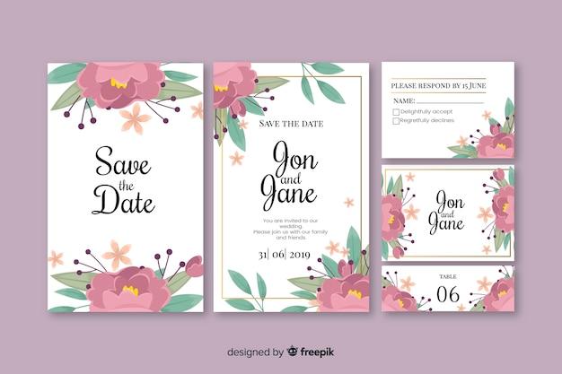 Collection de modèles de papeterie de mariage floral Vecteur gratuit
