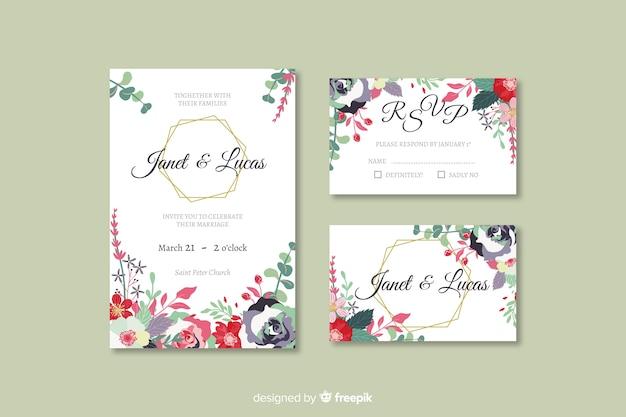 Collection de modèles de papeterie de mariage plat Vecteur gratuit