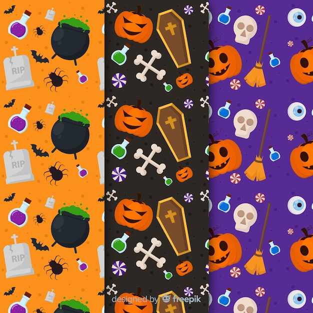 Collection de modèles plats avec des accessoires d'halloween avec des éléments obscurs Vecteur gratuit