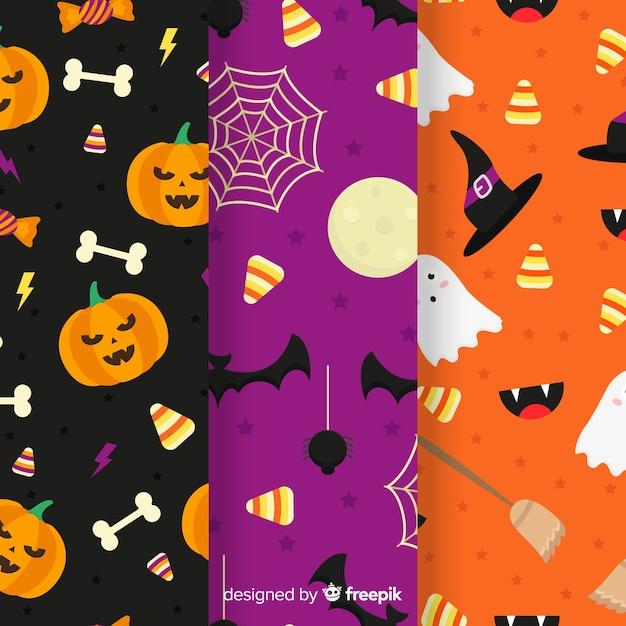Collection de modèles plats avec un décor d'halloween Vecteur gratuit