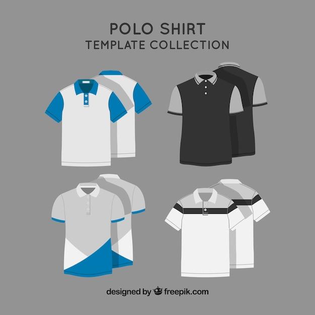 Collection de modèles de polo à deux couleurs Vecteur gratuit