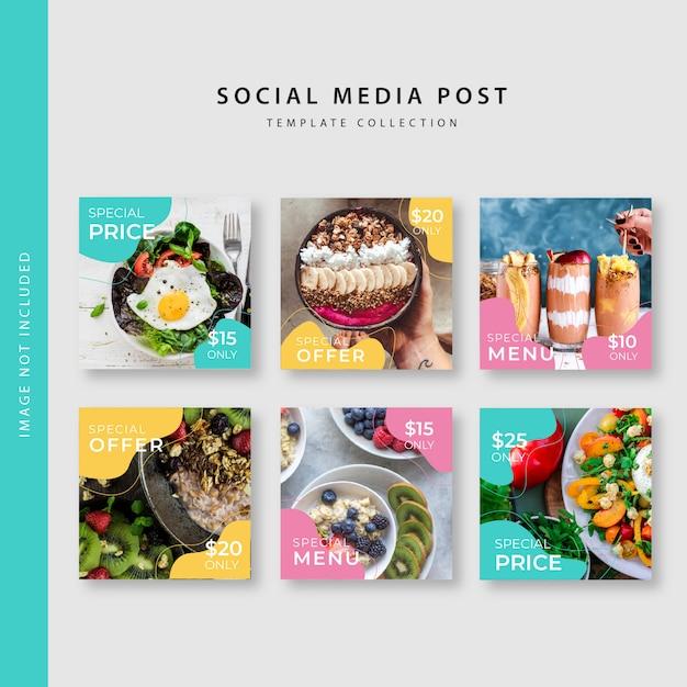 Collection De Modèles De Post Instagram Culinaires Vecteur Premium