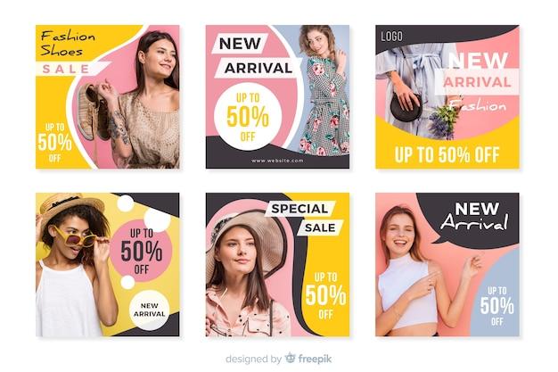 Collection de modèles de post instagram avec photo Vecteur gratuit