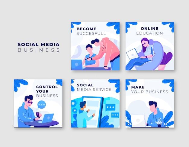 Collection de modèles de poste d'affaires instagram Vecteur Premium