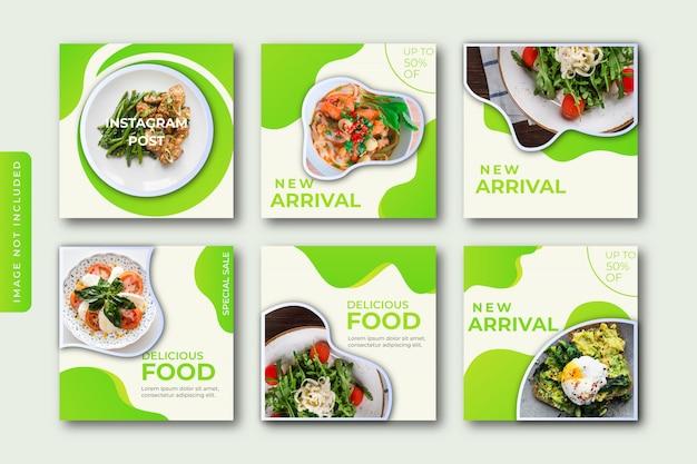 Collection De Modèles De Publication Instagram Culinaire Vecteur Premium