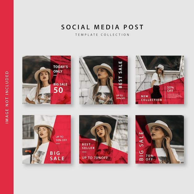 Collection de modèles de publication sur les médias sociaux Vecteur Premium