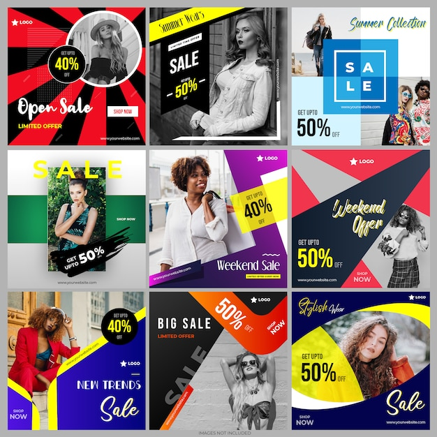 Collection de modèles de publipostage dans les médias sociaux Vecteur Premium