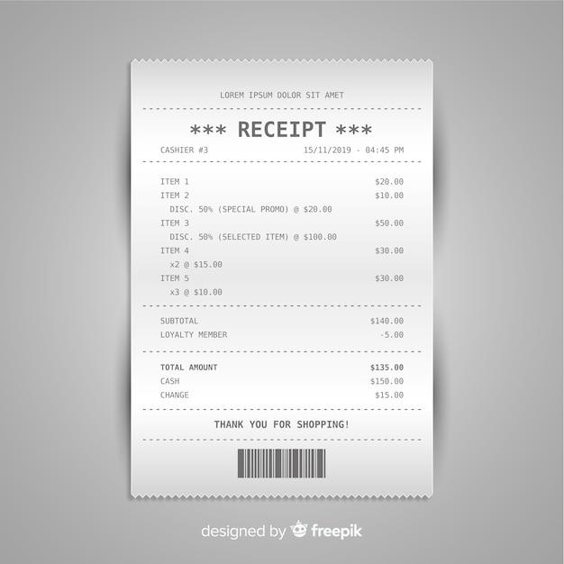 Collection de modèles de reçus avec un design réaliste Vecteur gratuit