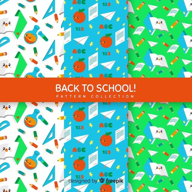 Collection de modèles de retour à l'école Vecteur gratuit