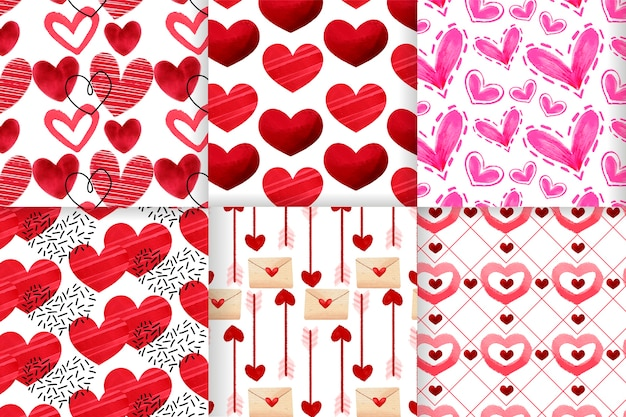 Collection De Modèles De Saint Valentin Aquarelle Vecteur gratuit