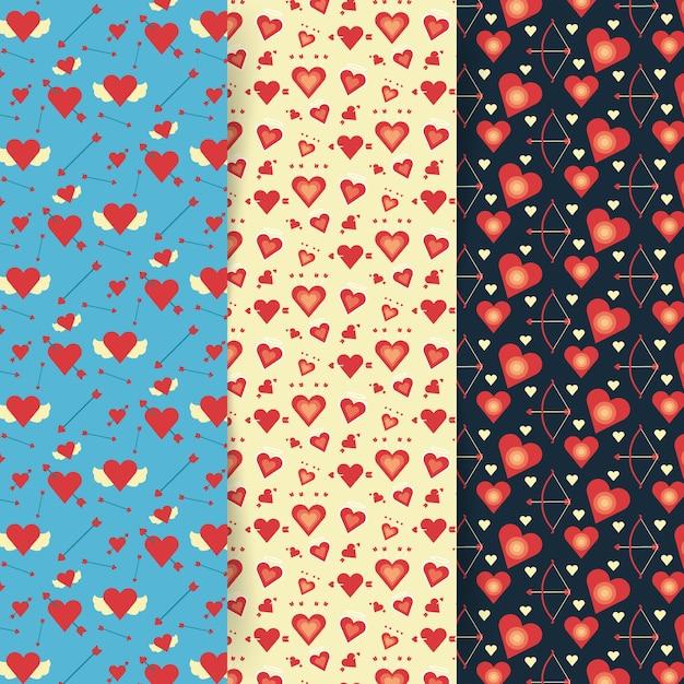 Collection de modèles de saint valentin au design plat Vecteur gratuit