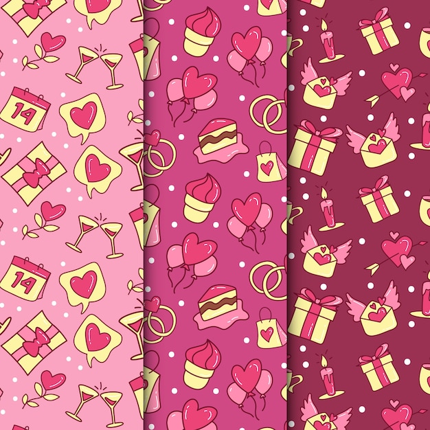 Collection de modèles de saint valentin dessinés à la main Vecteur gratuit