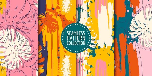 Collection De Modèles Sans Couture De Formes Abstraites Vecteur Premium