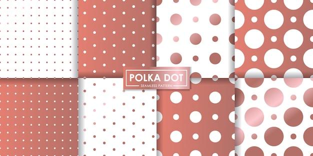 Collection de modèles sans couture de luxe or rose polkadot Vecteur Premium