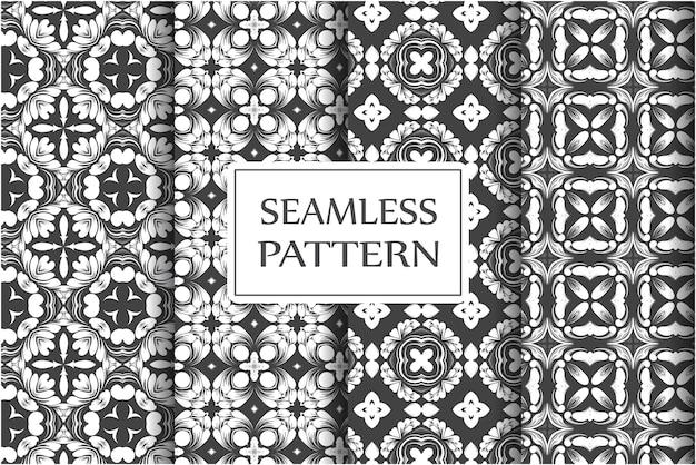 Collection De Modèles Sans Couture Premium Pour Papiers Peints Textile Enveloppant Un Modèle Baroque Floral Exquis Vecteur Premium