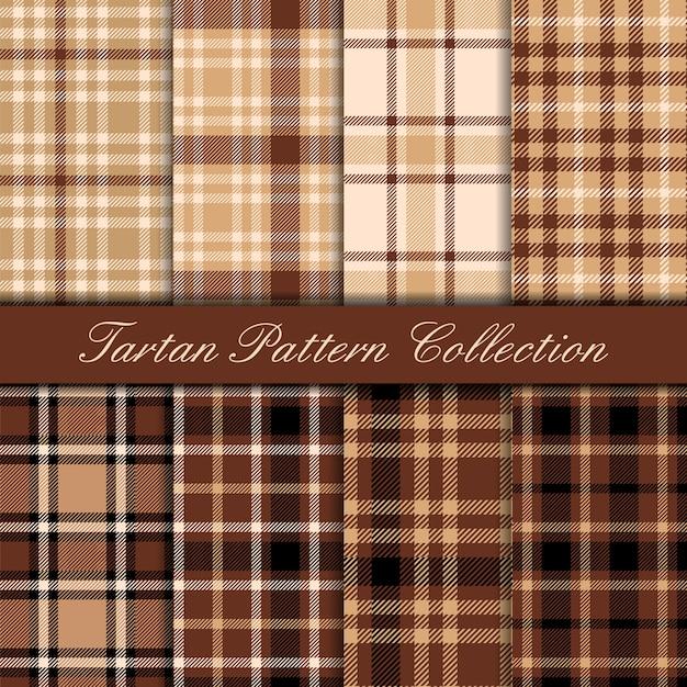 Collection De Modèles Sans Couture Tartan Marron Et Beige Vecteur Premium