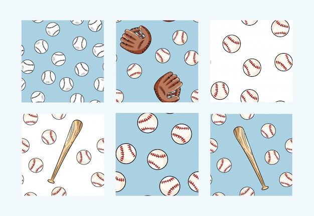 Collection de modèles sans soudure de baseball Vecteur Premium