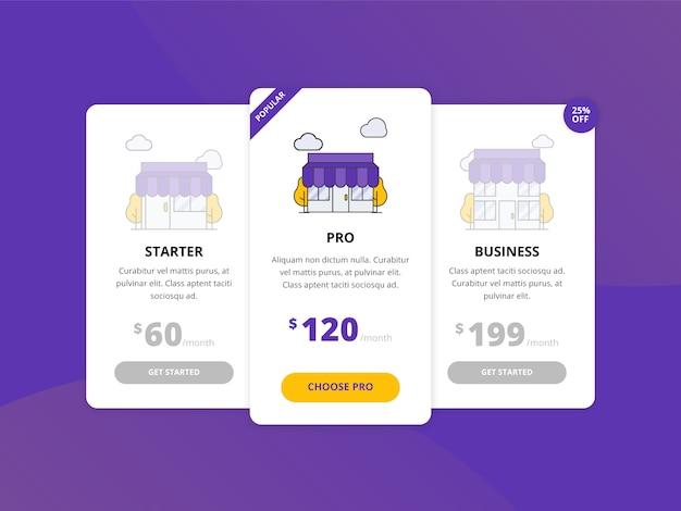 Collection de modèles de tableau de prix web Vecteur Premium