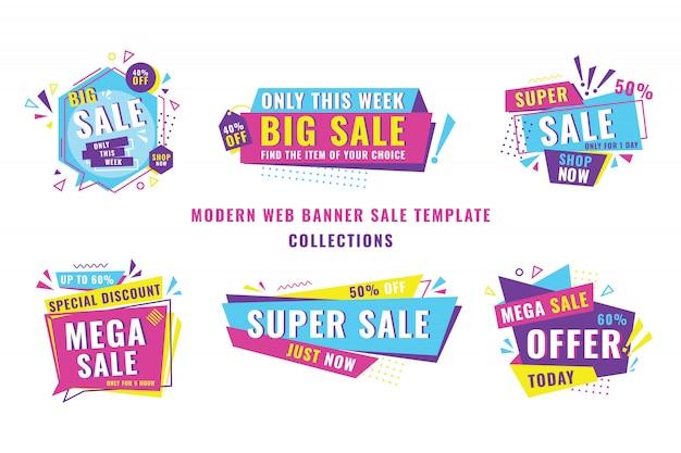 Collection de modèles de vente de bannière moderne Vecteur Premium