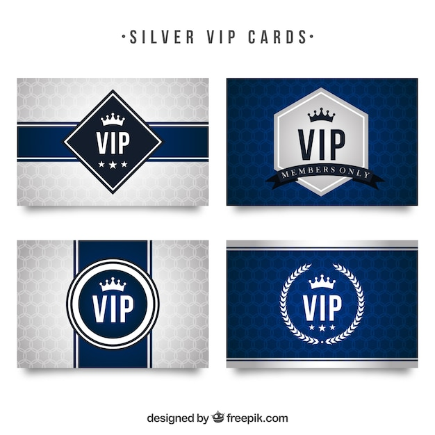 Collection moderne de cartes silver vip Vecteur gratuit