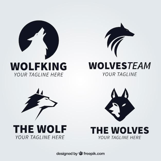 Collection moderne logo logo du loup noir Vecteur gratuit