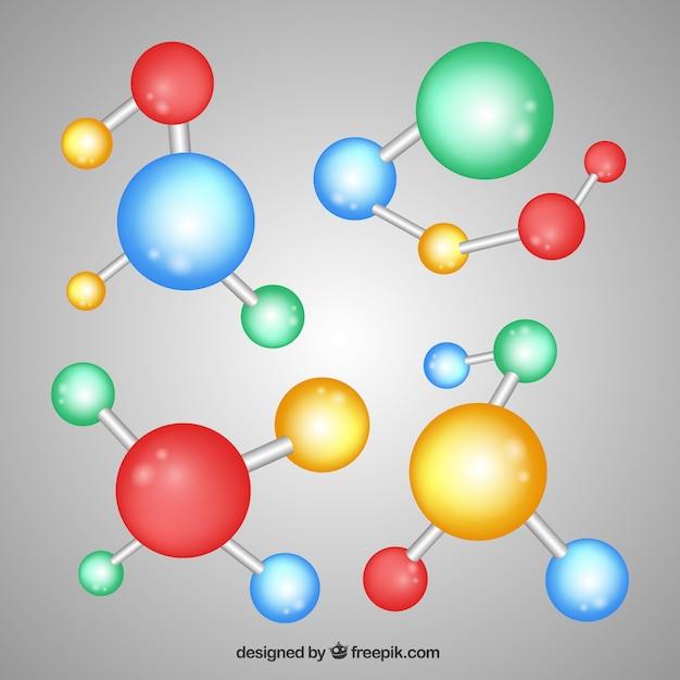 Collection de molécules multicolores Vecteur gratuit