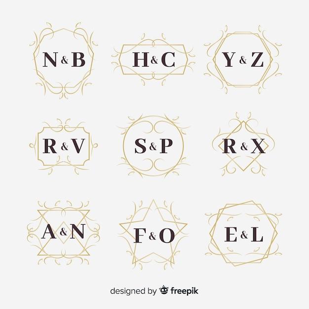 Collection de monogram de mariage ornemental Vecteur gratuit