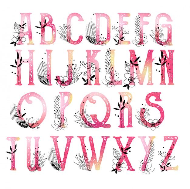 Collection monogramme alphabet avec des fleurs Vecteur Premium