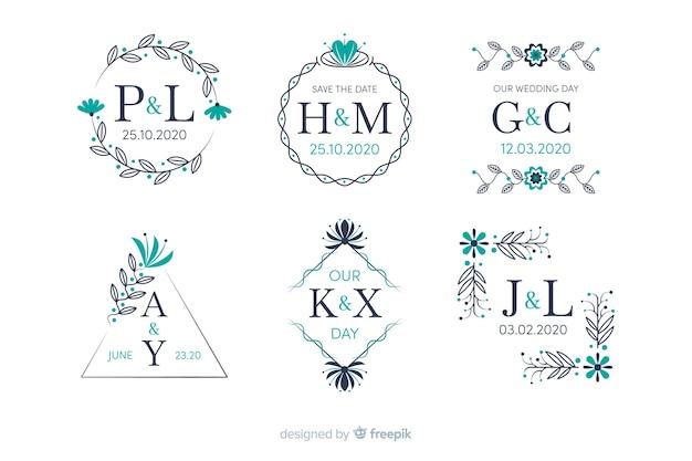 Collection de monogramme de mariage ornemental Vecteur gratuit