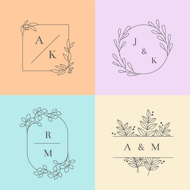 Collection de monogrammes de mariage minimalistes en couleurs pastel Vecteur gratuit