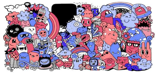 Collection De Monstres De Dessin Animé. Ensemble De Groupe De Monstres De Dessin Animé Vecteur Premium
