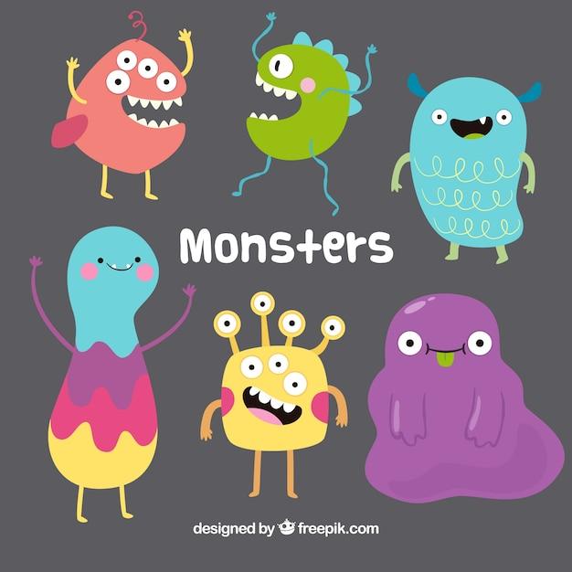Collection de monstres drôles dans un style dessiné à la main Vecteur gratuit