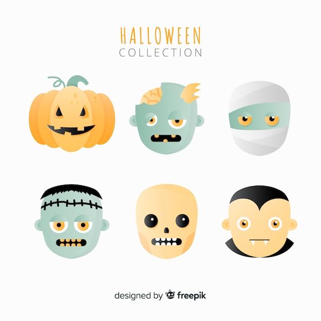 Collection de monstres d'halloween Vecteur gratuit