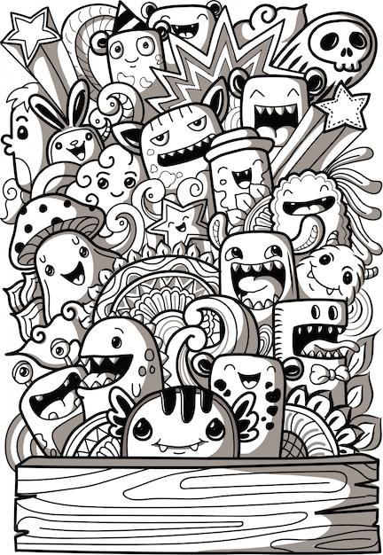 Collection de monstres mignons dans le style de griffonnage Vecteur Premium