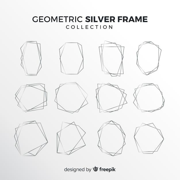 Collection de montures géométriques en argent Vecteur gratuit