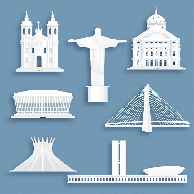 Collection de monuments célèbres du brésil Vecteur Premium