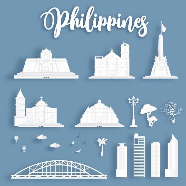 Collection de monuments célèbres des philippines. Vecteur Premium