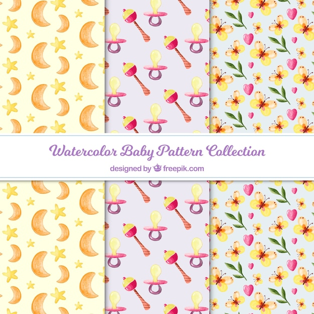 Collection de motif de bébé avec des lunes et des fleurs Vecteur gratuit