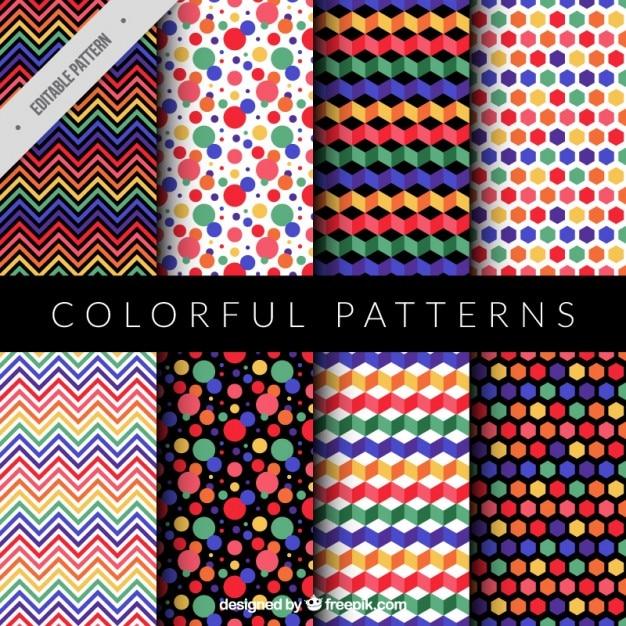 Collection De Motif Coloré Et Moderne Vecteur gratuit