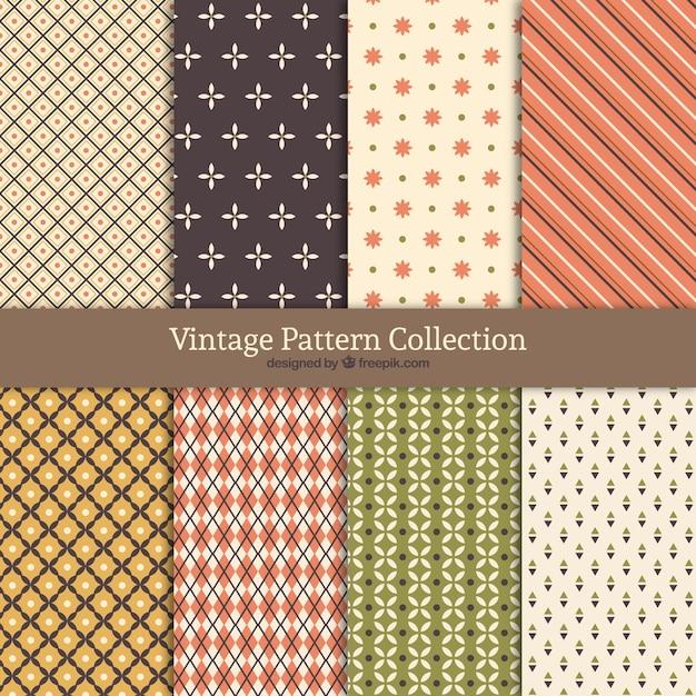 Collection de motif vintage avec des formes différentes Vecteur gratuit
