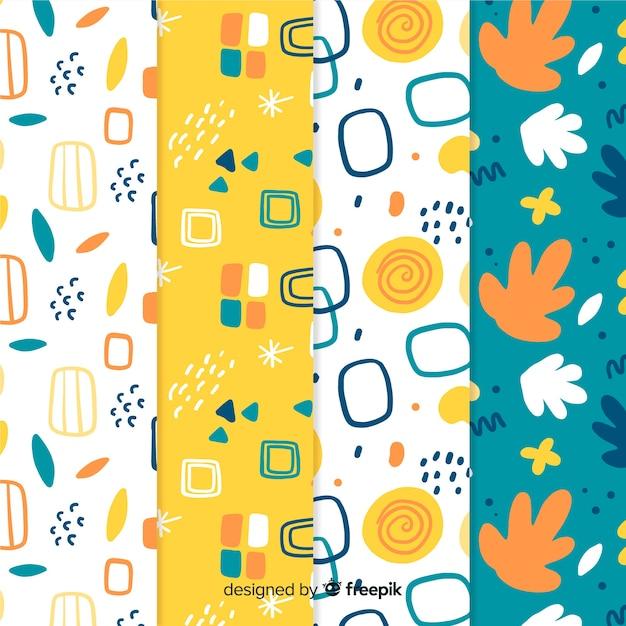 Collection de motifs abstraits dessinés à la main Vecteur gratuit