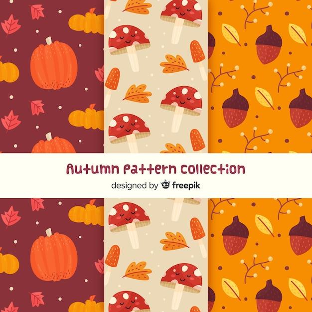 Collection de motifs d'automne plats Vecteur gratuit