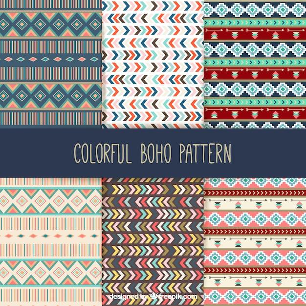 Collection de motifs boho coloré Vecteur gratuit
