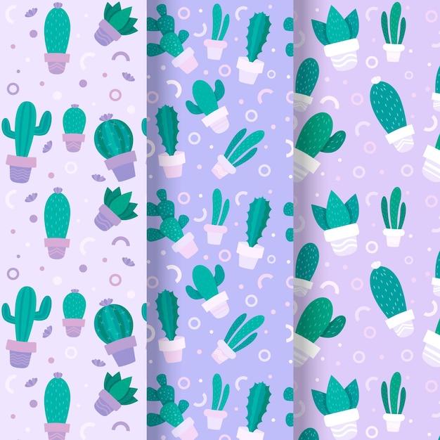Collection De Motifs De Cactus Vecteur gratuit