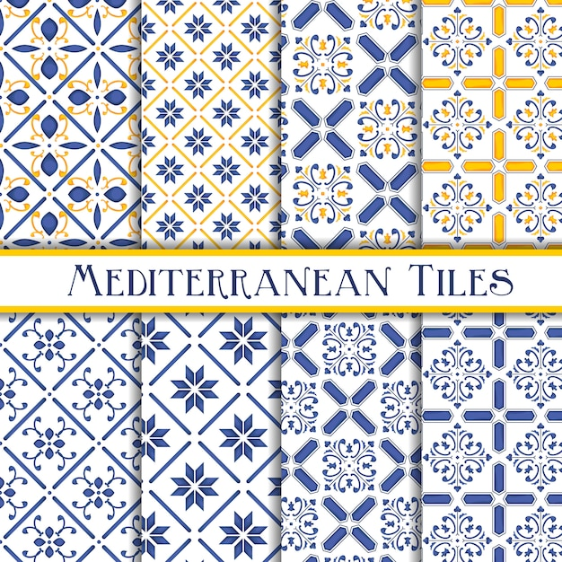 Collection de motifs de carreaux méditerranéens Vecteur Premium