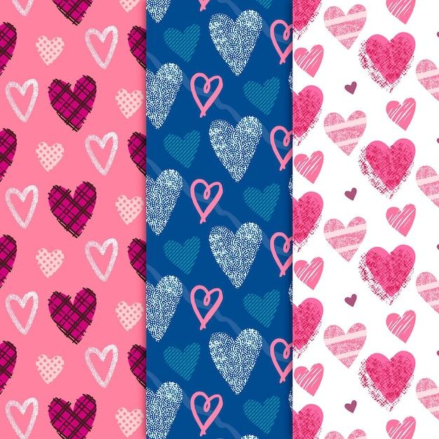 Collection De Motifs Coeur Dessinés à La Main Vecteur Premium