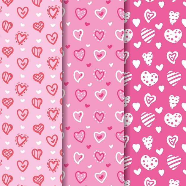 Collection De Motifs Coeur Dessinés à La Main Vecteur gratuit