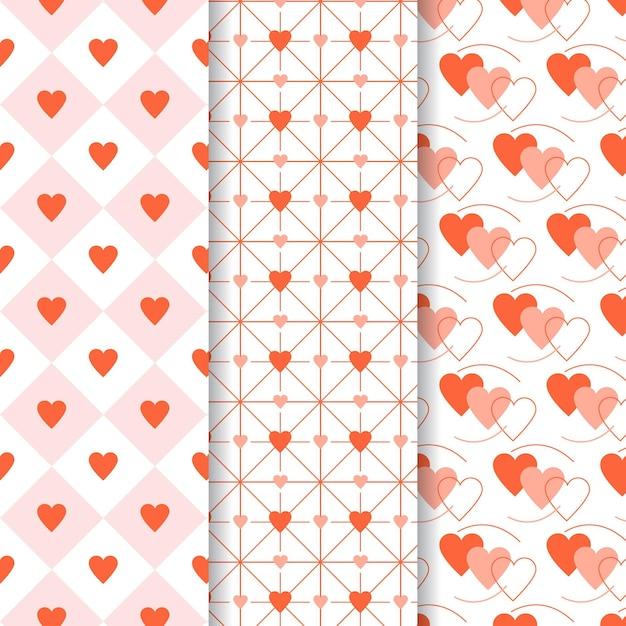 Collection De Motifs Coeur Plat Vecteur gratuit